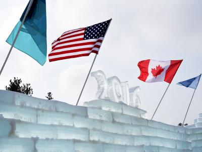 2016 Top of Ice Castle with Flags